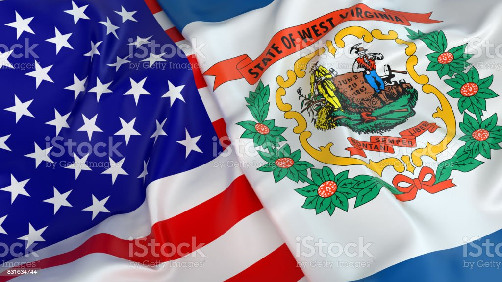 USA flag with flag of West Virginia stock photo