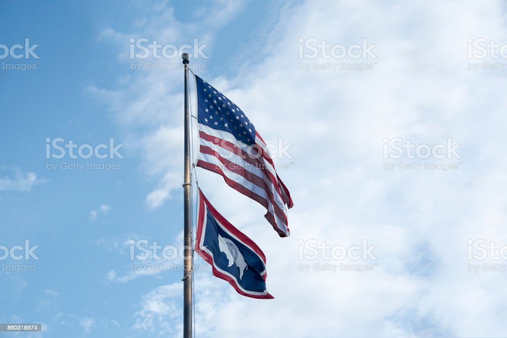 USA flag with flag of Wyoming stock photo