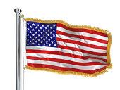 アメリカ国旗にゴールドのフリンジ