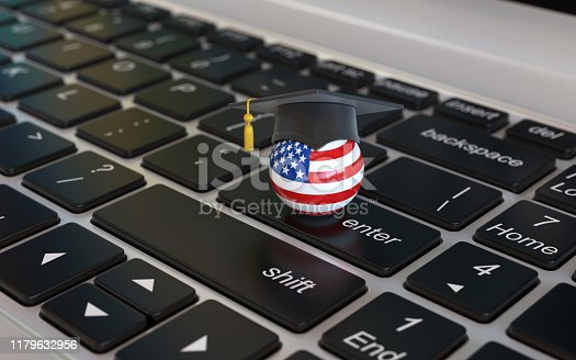1069581886 istock photo US flag with graduation cap on laptop keyboard 1179632956