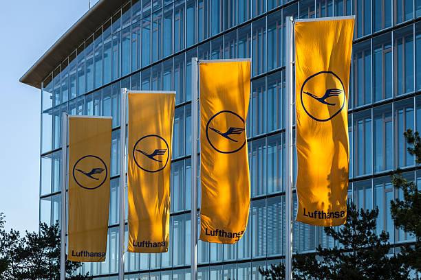 flag with Lufthansa symbol, the crane stock photo
