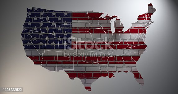 450754061istockphoto US flag with map silhouette. 3D illustration 1128222522