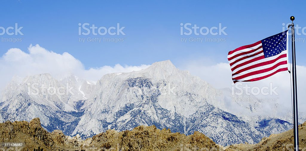 US Flag with Mount Whitney and Lone Pine on background stock photo