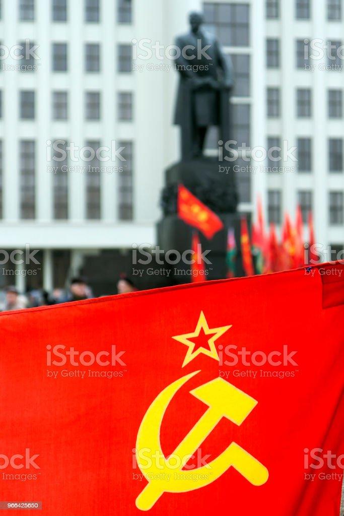 Bandera con símbolos soviéticos - foto de stock