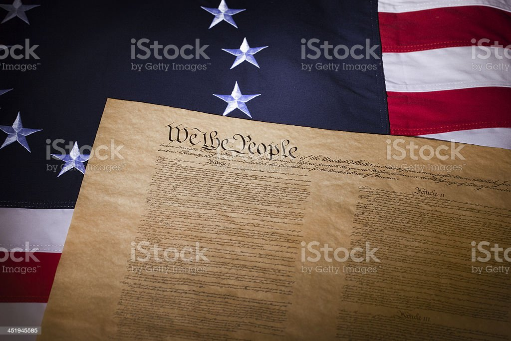 US flag with thirteen stars and the constitution stock photo