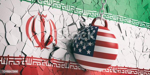 istock USA flag wrecking ball breaking a Iran flag wall. 3d illustration 1048647866
