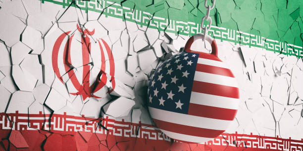 USA flag wrecking ball breaking a Iran flag wall. 3d illustration US of America and Iran relations. USA flag wrecking ball breaking a Iran flag wall. 3d illustration iran stock pictures, royalty-free photos & images