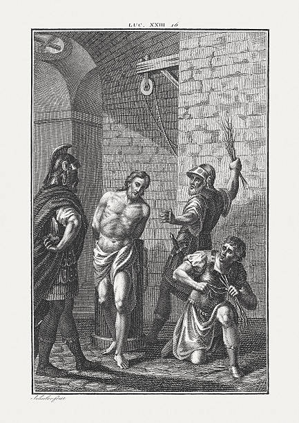 flagellation of christ (luke 23), copper engraving, published c. 1850 - sculacciate foto e immagini stock