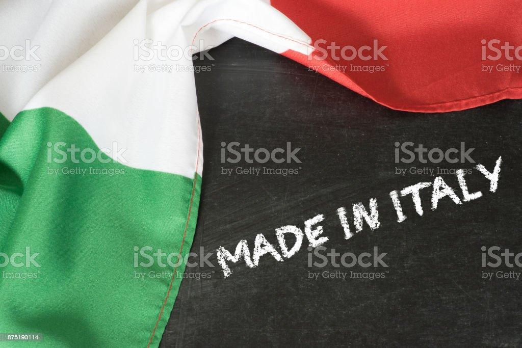 Flagge von Italien und Slogan Made in Italy foto stock royalty-free