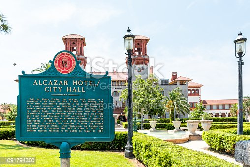 St. Augustine, USA - May 10, 2018: Flagler College with nobody by Florida architecture, famous historic city University with Alcazar hotel city hall sign closeup