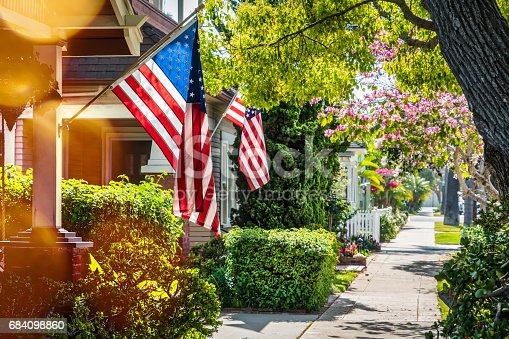 Flags on a southern California street.