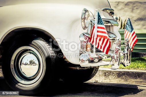 Patriotic flare on the front of a 1940's truck.
