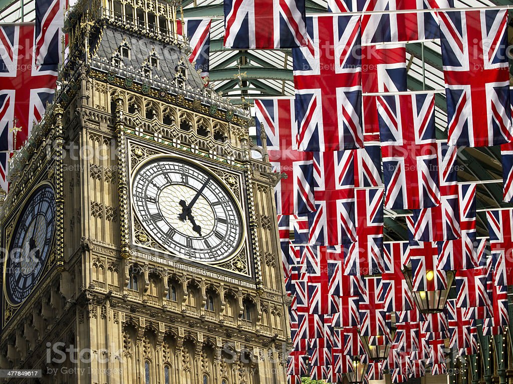 flags and Big Ben stock photo