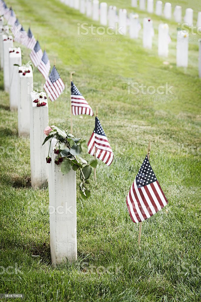 Flags and Flowers at Arlington National Cemetery royalty-free stock photo