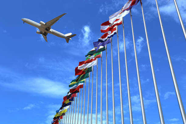 flags and plane stock photo