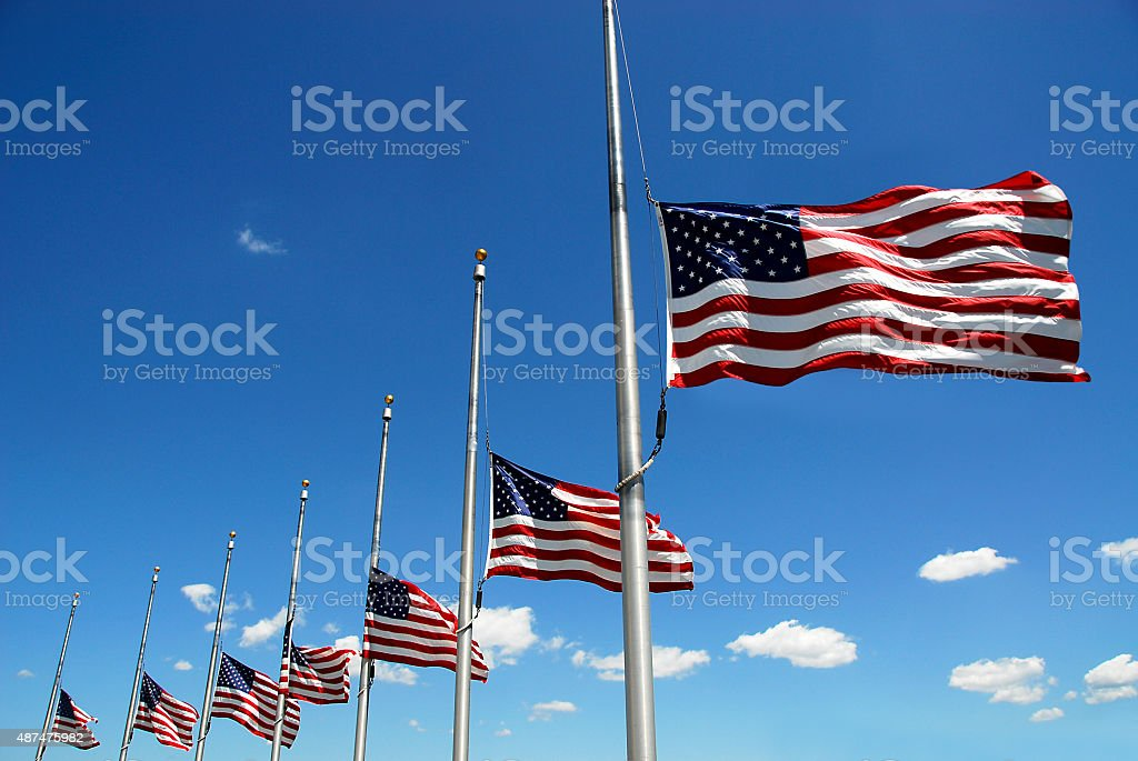 Flags at Half Mast stock photo