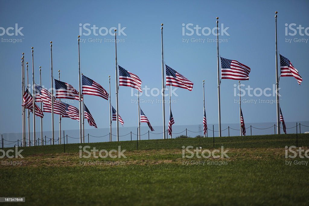 Flags at half staff in Washington DC royalty-free stock photo