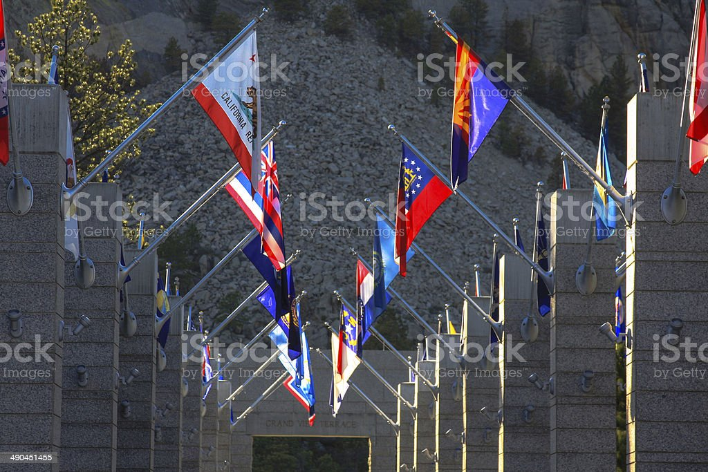 Flags at Mount Rushmore in South Dakota stock photo