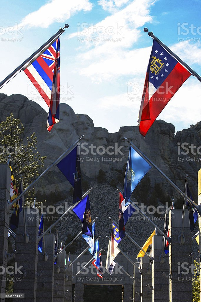 Flags at Mount Rushmore in South Dakota royalty-free stock photo