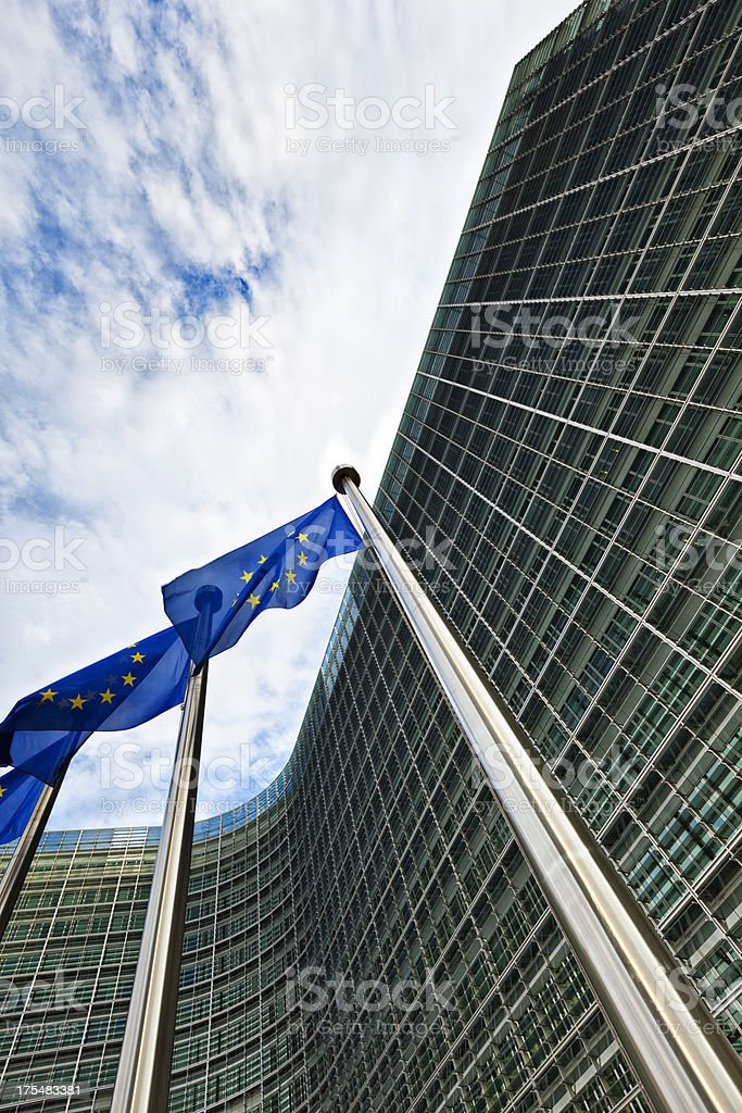 EU flags at the european commission building, brussels stock photo