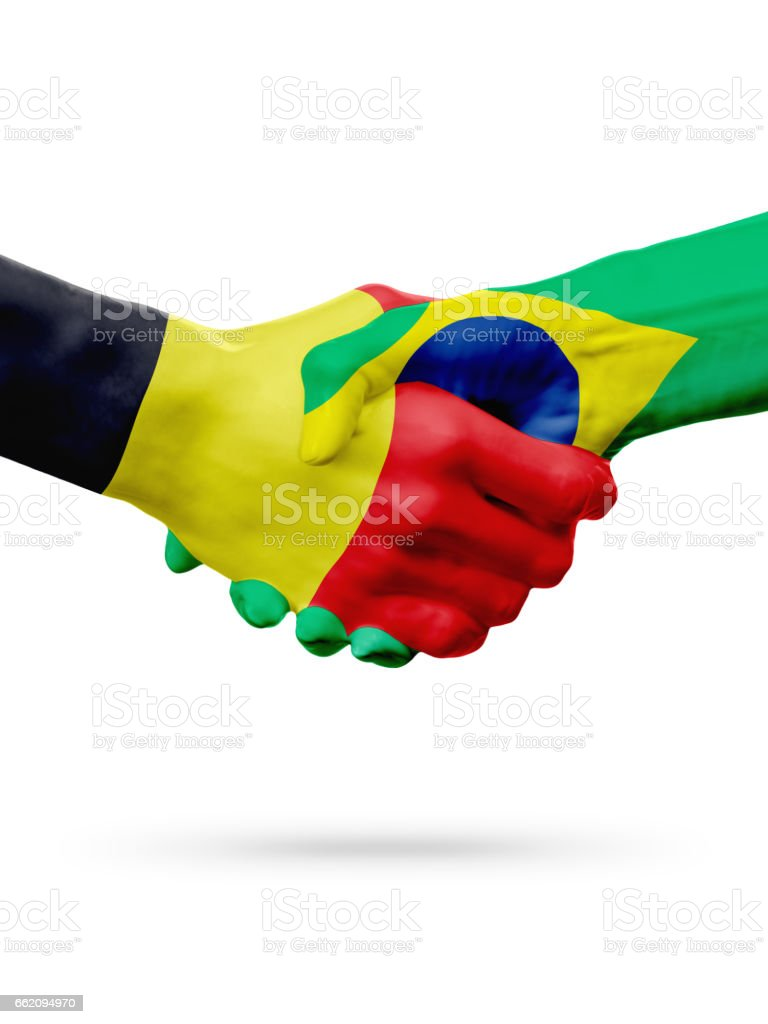Flags Belgium, Brazil countries, partnership friendship handshake concept. - foto de acervo