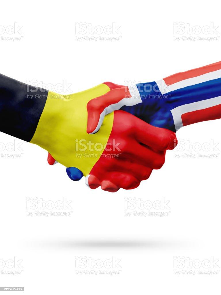 Flags Belgium, Norway countries, partnership friendship handshake concept. royalty-free stock photo