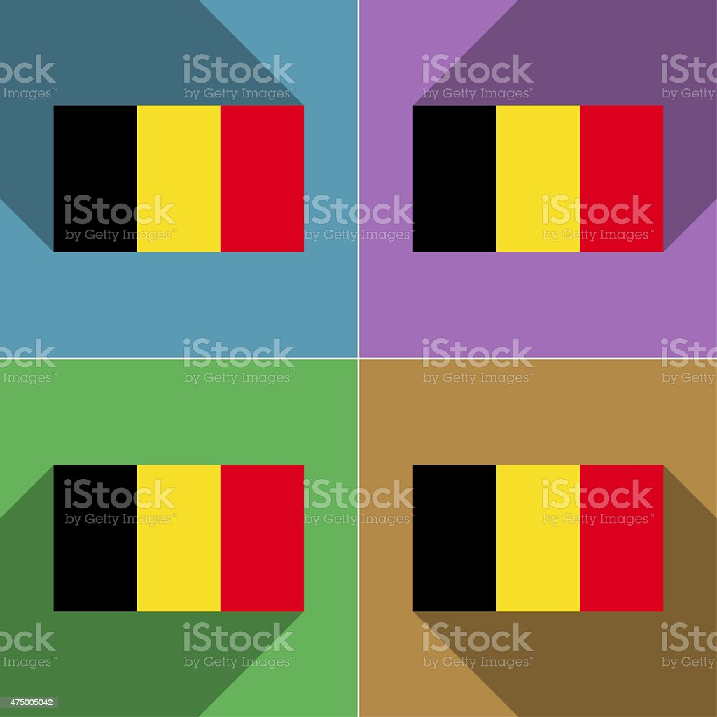Flags Belgium Set Of Colors Flat Design And Long Shadows