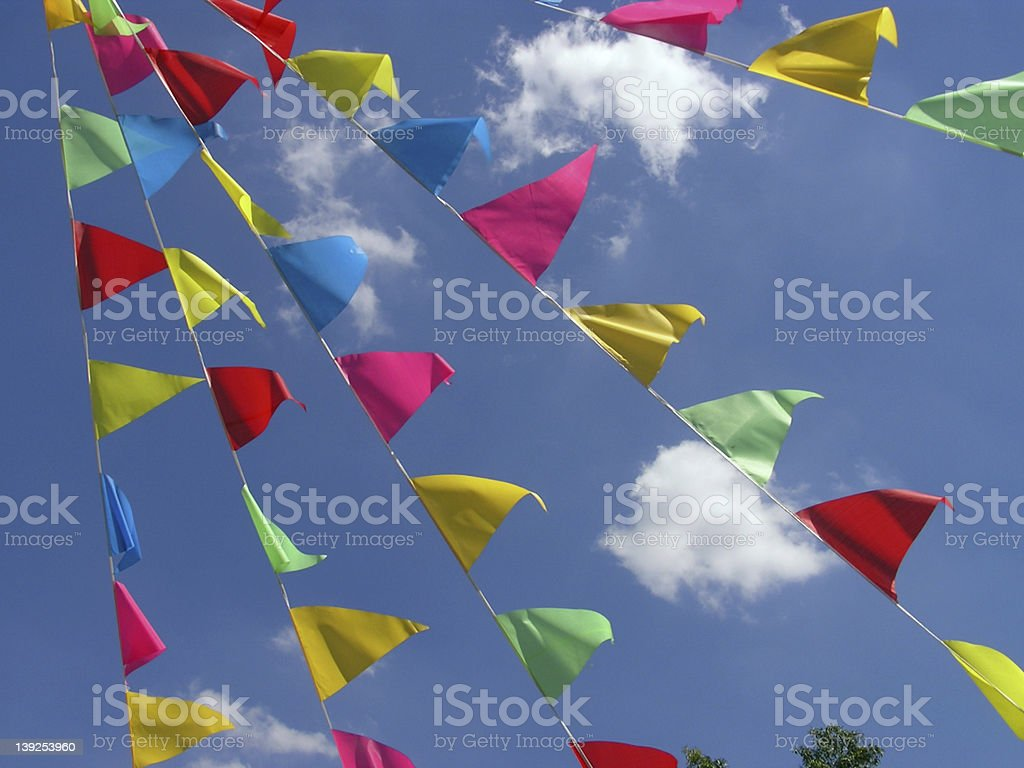 Flags blowing in the wind royalty-free stock photo