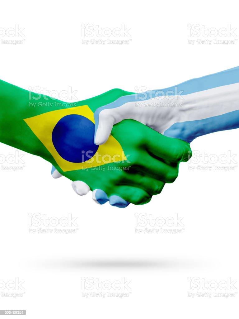 Flags Brazil Argentina Countries Partnership Friendship