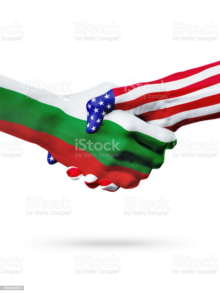 Flags Bulgaria and United States countries, overprinted handshake. stock photo