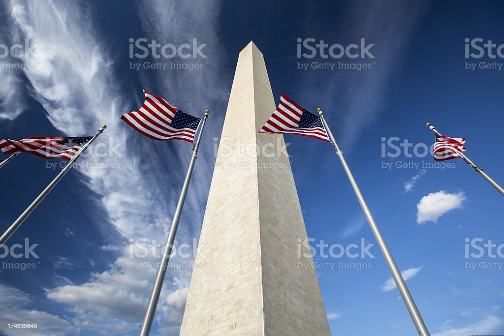 Flags by the Washington Monument stock photo