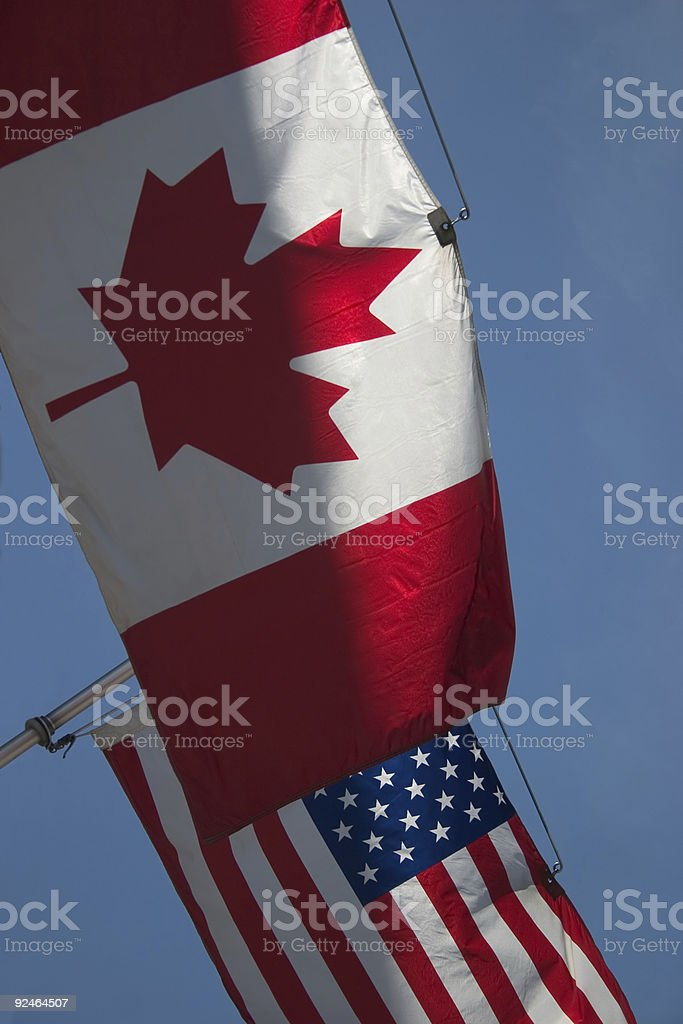 Flags, Canada and USA royalty-free stock photo