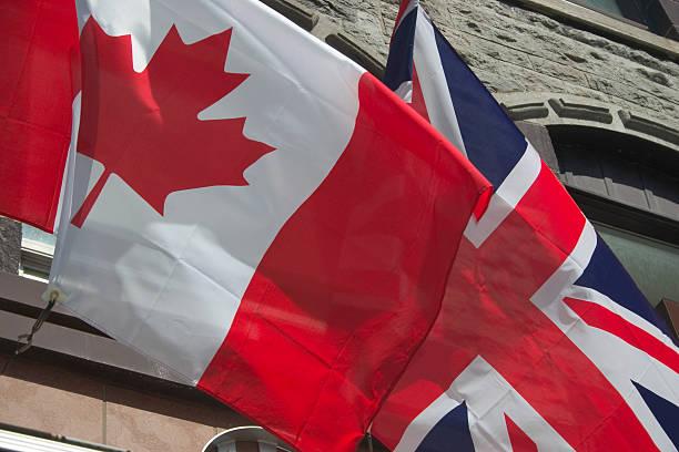 Flags, Canada - British stock photo