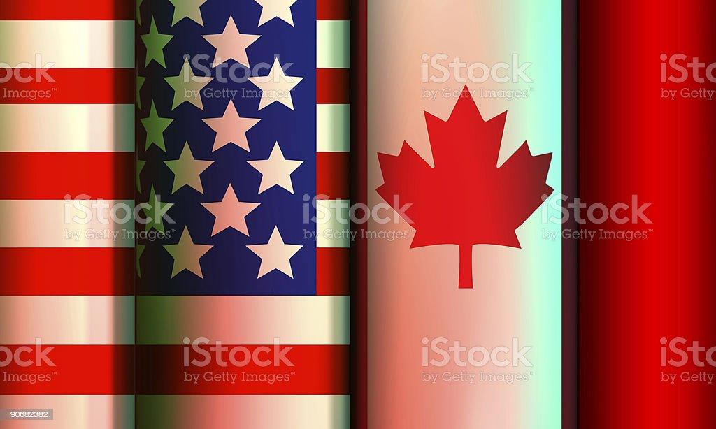 Flags, Canada-USA stock photo