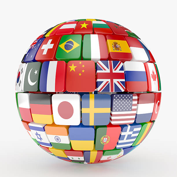 Colección de banderas de esfera - foto de stock