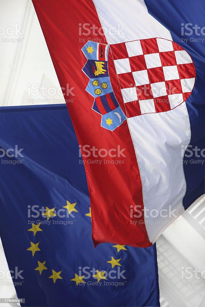 Flags Croatia & Eu royalty-free stock photo