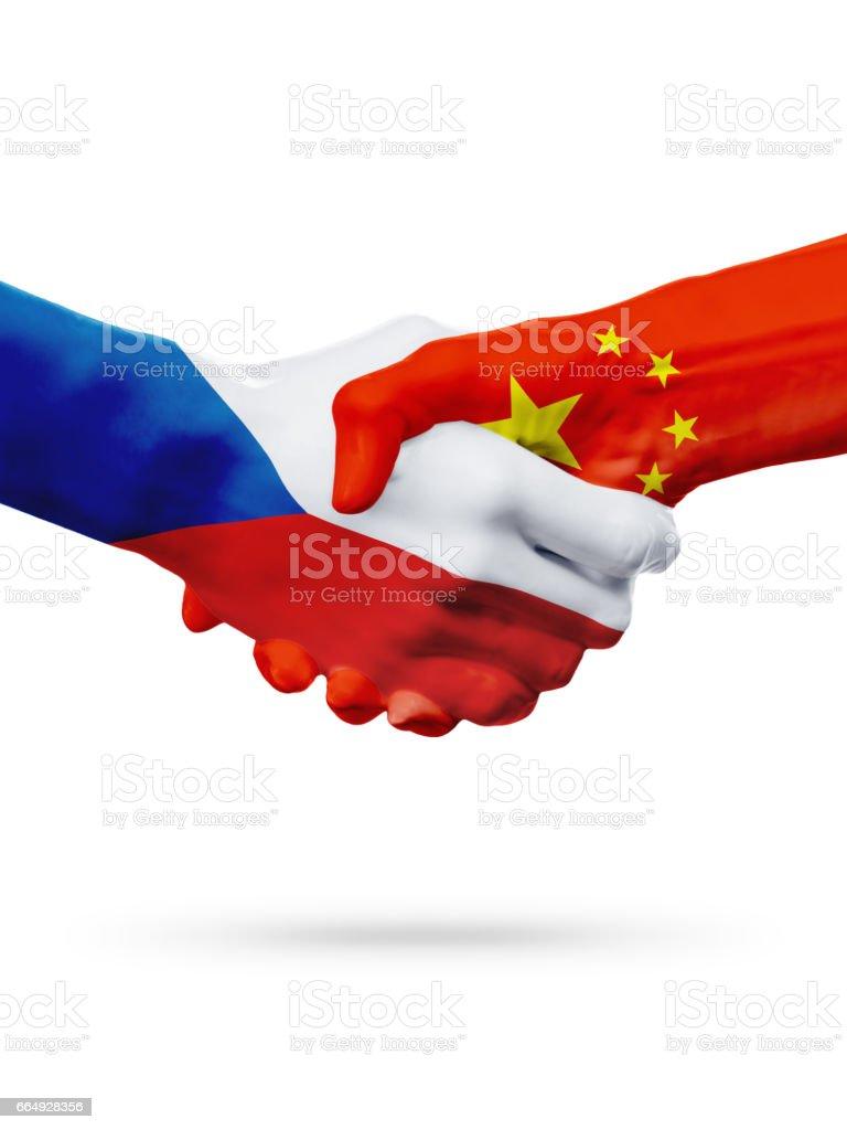 Flags Czech Republic China Countries Partnership Friendship