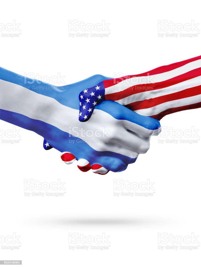 Flags El Salvador, United States countries, overprinted handshake. - foto de stock
