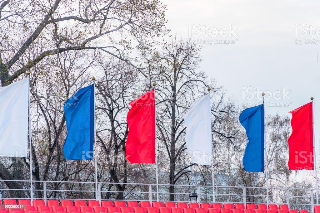 Flags fluttering in the wind - Zbiór zdjęć royalty-free (Baner)