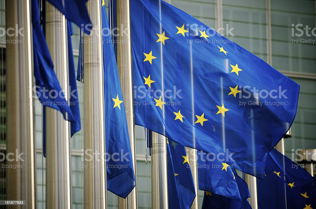 EU Flags Flying at the European Commission Building Brussels Belgium royalty-free stock photo