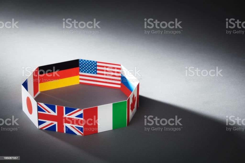 Flags for Global Economic G8 Group of Eight Countries Hz royalty-free stock photo