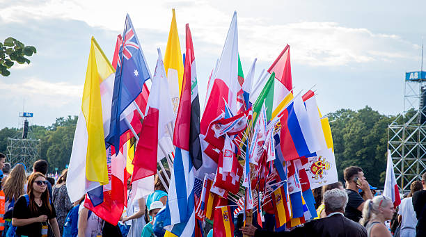 flags from different countries on the world youth days - jugendweihe 2016 stock-fotos und bilder