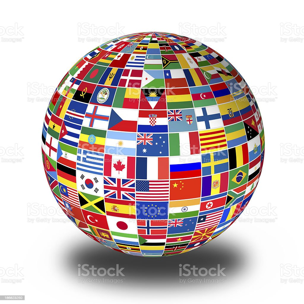 Flags Globe stock photo