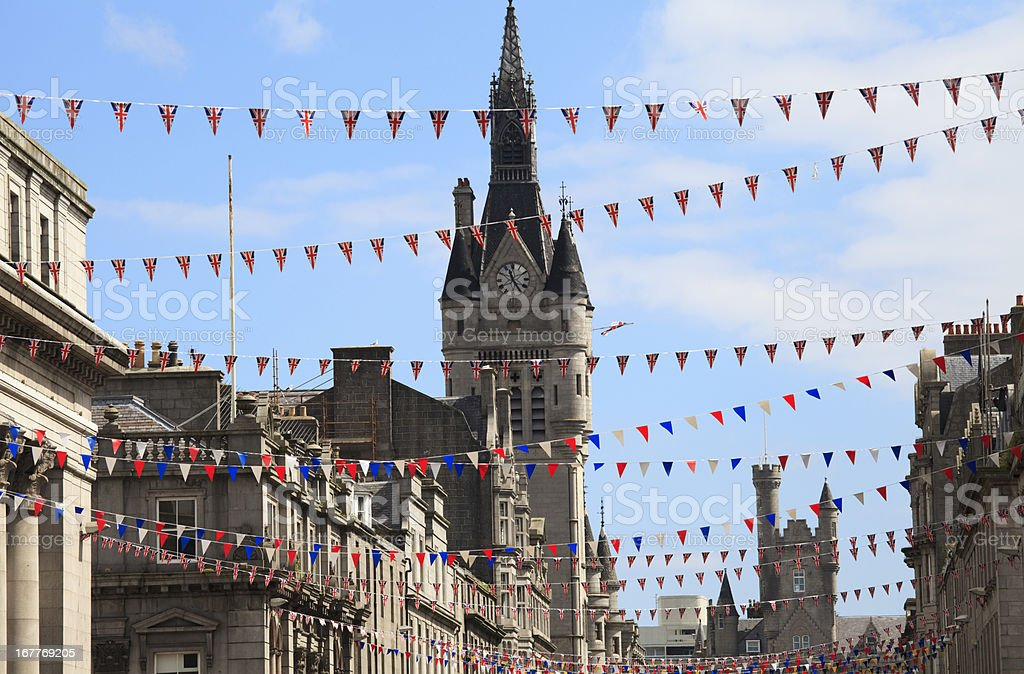 Flags hung on Union Street in Aberdeen  stock photo