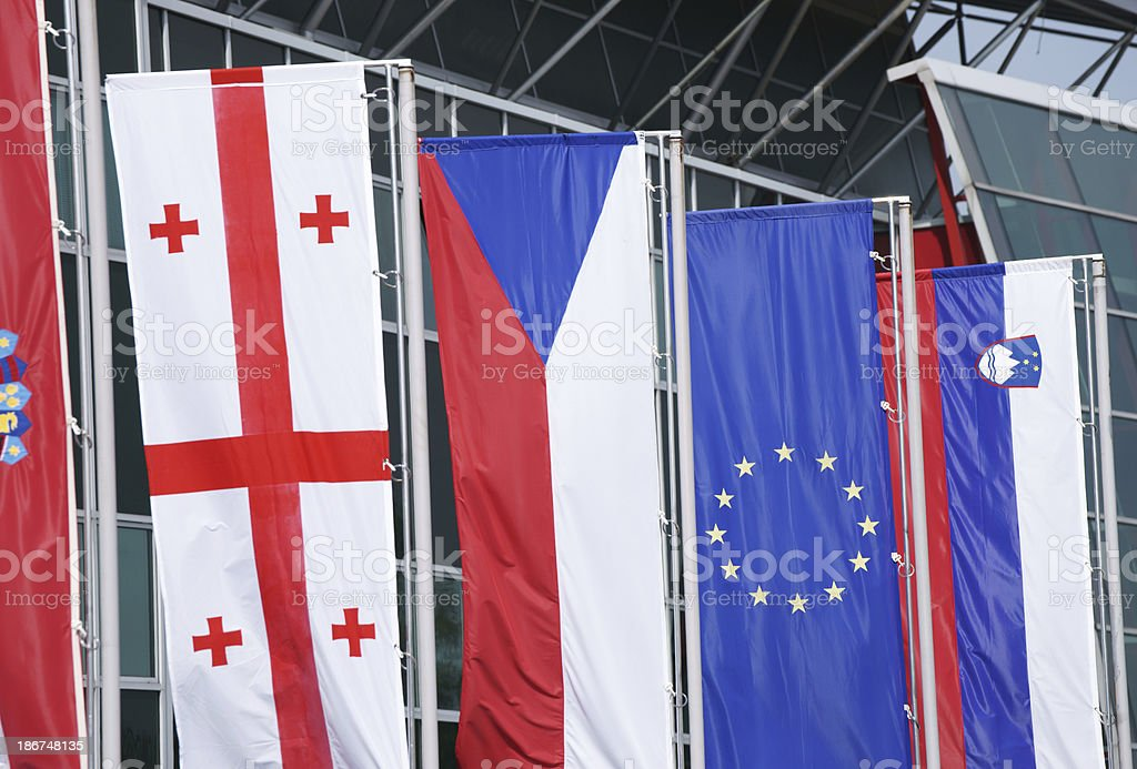 Flags in a row royalty-free stock photo