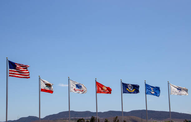 Flags in a row, USA, California, Marines, US Army, US Navy Flags in a row, USA, California, Marines, US Army, US Navy us military stock pictures, royalty-free photos & images
