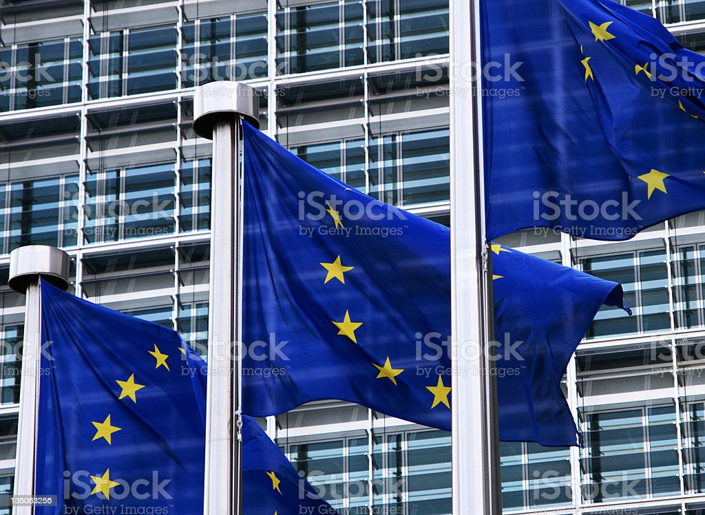 EU Flags in Brussels royalty-free stock photo