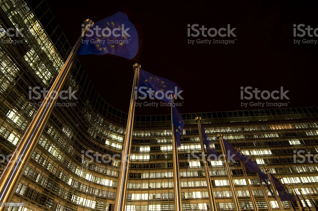 EU flags in Brussels stock photo