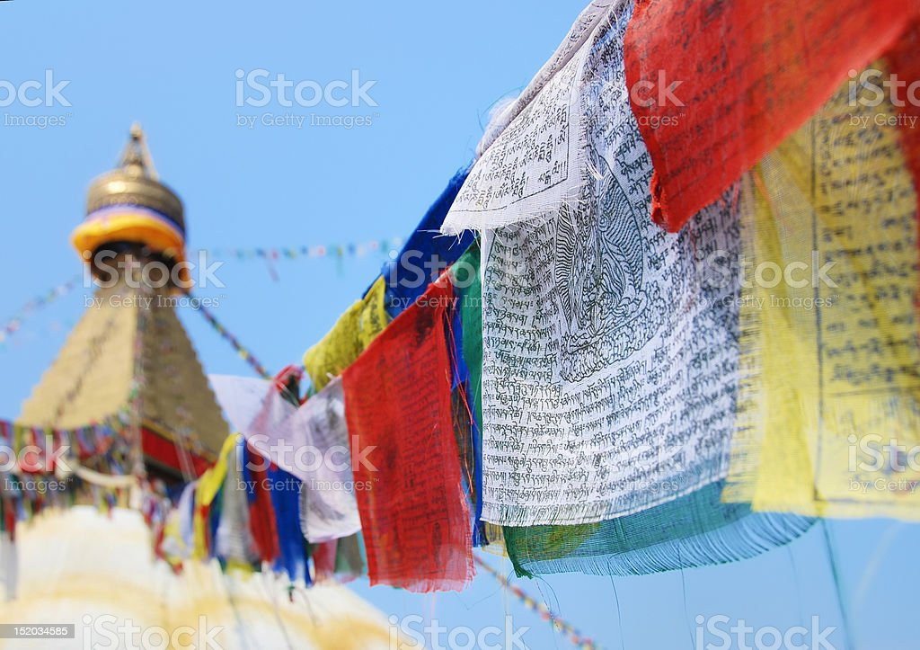Flags in buddhist stupa royalty-free stock photo