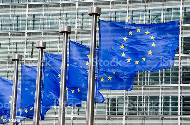 Eu Flags In Front Of European Commission In Brussels Stock Photo - Download Image Now